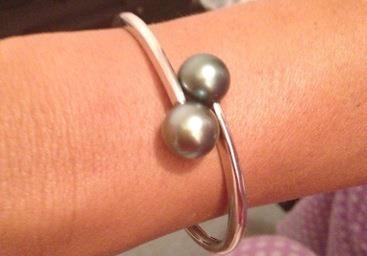 Stirling Silver Black Pearl bracelet